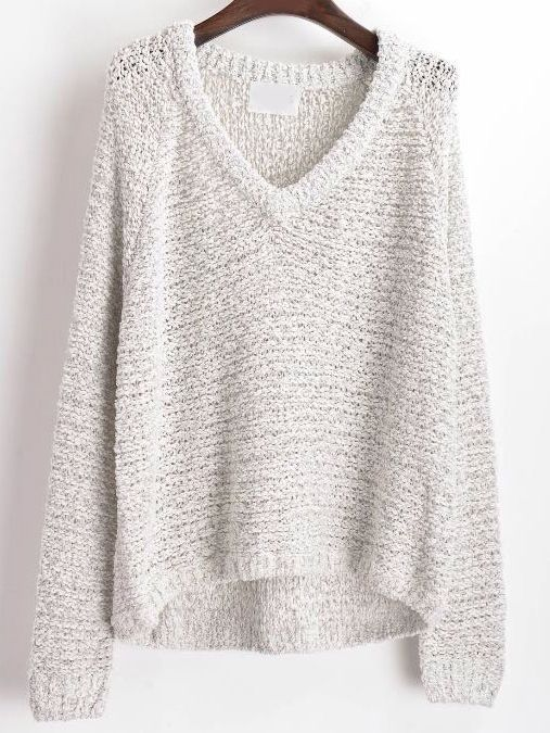 Dip Hem V Neck Sweater at Romwe - Trendslove