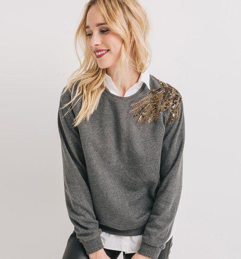 Sweat-shirt brodé Femme gris foncé - Promod