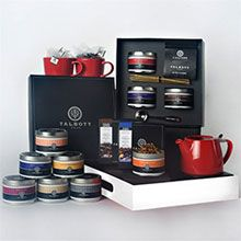 Talbott Teas Ultimate Collection Gift Set   Grand Collection plus 1 orange tea pot, 2 orange tea cups, and 1 serving tray.