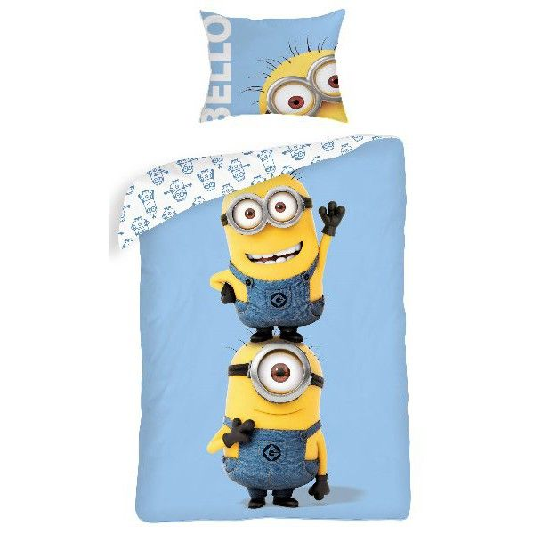 Minions sengetøj til børn i lyseblå og gul farve