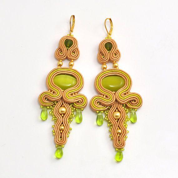 Long earrings, chandelier earrings, soutache earrings, soutache jewelry, statement earrings, gift for her, orecchini soutache, Ohrringe