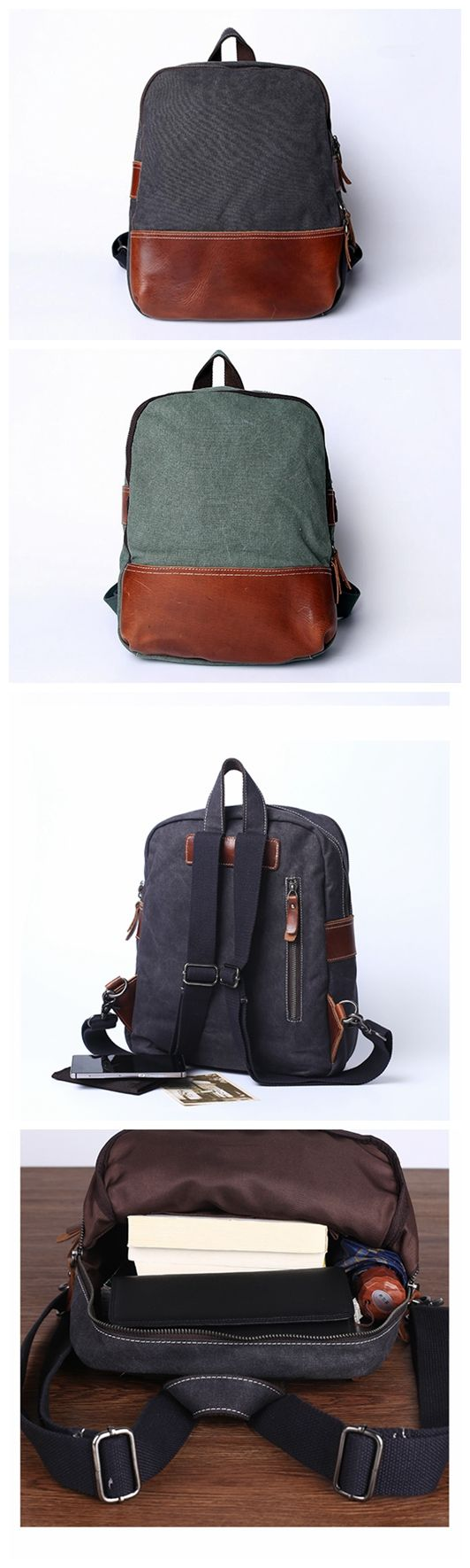 Canvas Leather Backpack, School Backpack, Travel Backpack for Men and Women JC025