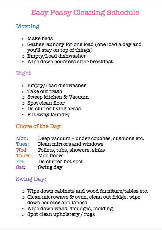 17 Best ideas about Daily Cleaning Schedules – Cleaning Schedule