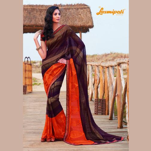 Get this amazing traditional Multicoloured Chiffon Saree with Dark Orange Pashmina Blouse from #LaxmipatiSaree. #wholesalesarees