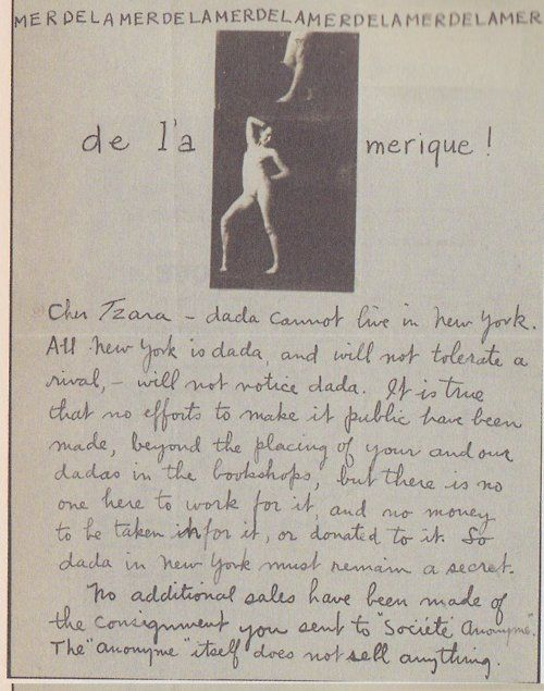Man Ray to Tristan Tzara (New York, 1921) #handwriting