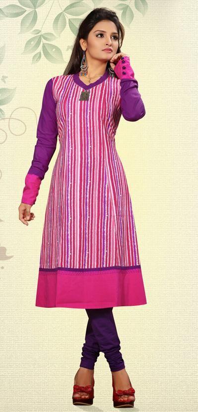 USD 98.81 Pink Designer Cotton Kurti 28608