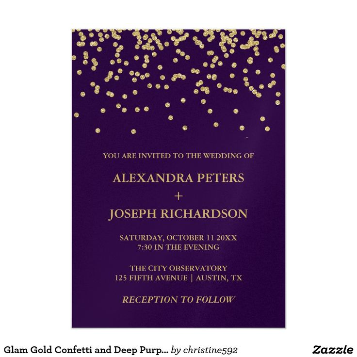 Glam Gold Confetti and Deep Purple Wedding 5x7 Paper Invitation Card