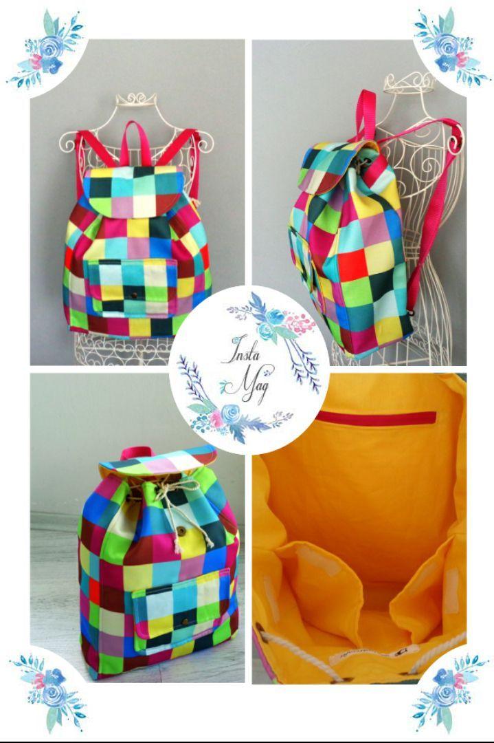Renkli ,color block sırt çantası