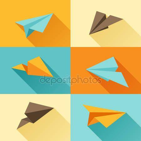 Скачать - Набор бумажных самолетов в стиле плоский дизайн — стоковая иллюстрация #46968151