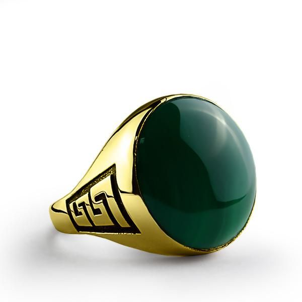 Men's Ring with Green Agate Stone in 10k Yellow Gold #sapphire #mensfashionpost #jewelry #jewelryoftheday #mensjewelryfashion #mensjewelryshop #onyx