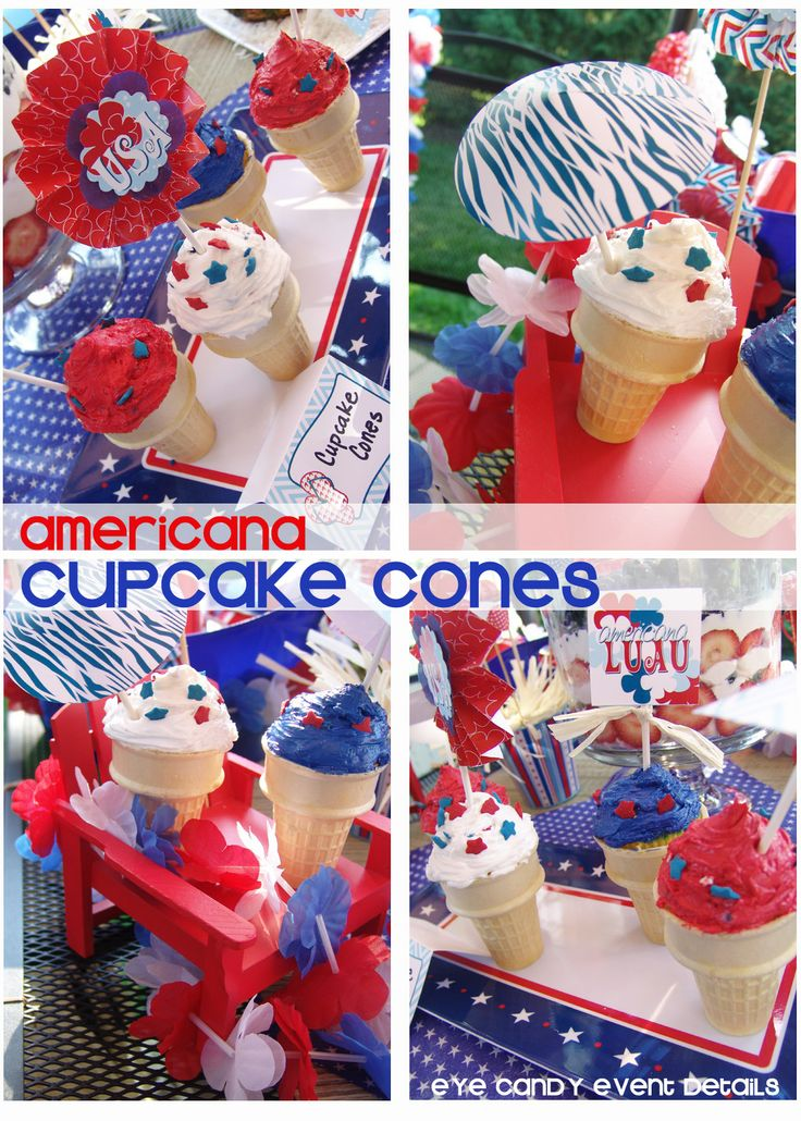 Eye Candy Event Details: {CUPCAKE CONES + ROCKCANDY} 4th of July Desserts: Eye Candy, Cupcake Cones, Candy Events, July Desserts, 4Th Of July, Parties Ideas, July 4Th, Events Details, Candy Creative