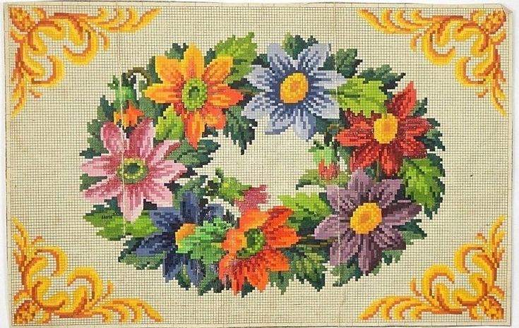Антикварный Берлин вручную-окрашенный Woolwork графике 19 века | ибее