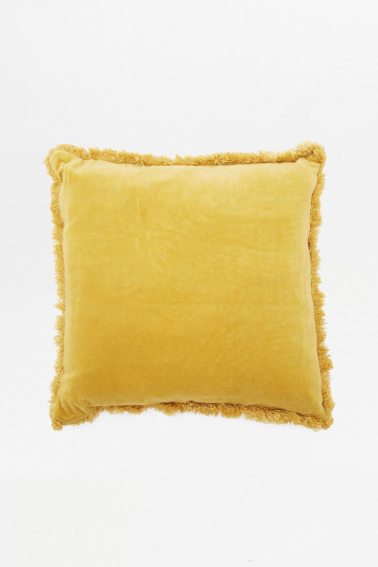 Slide View: 1: Velvet Fringe Cushion