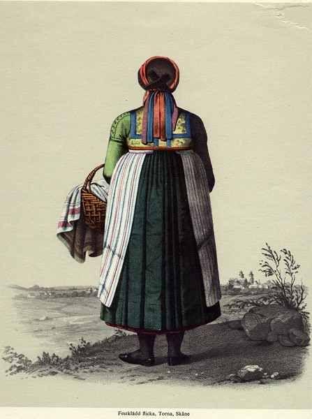 Folk dress of Torna Hällestad, Skane, Sweden
