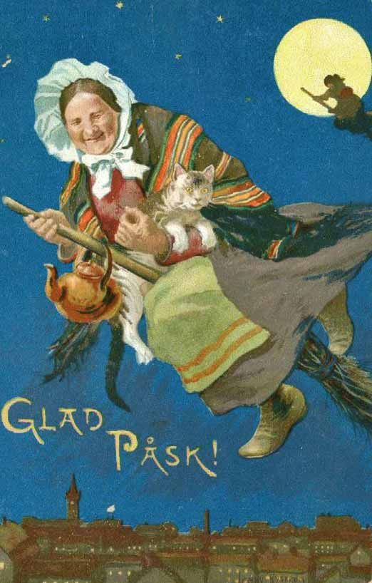 I love this old woman in her bonnet.  easter witch  sweden i think