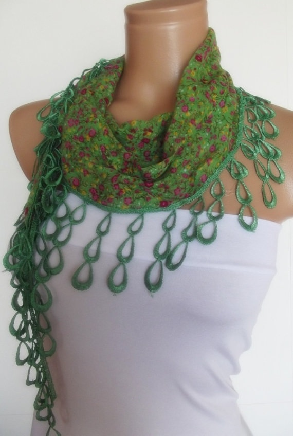 2012 summer fashion cotton scarf with lace new by smilingpoet, $12.90