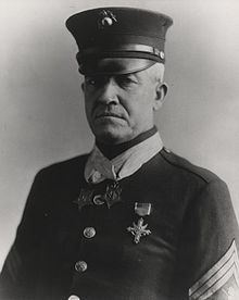 "Sergeant Major Daniel Joseph ""Dan"" Daly (November 11, 1873 – April 27, 1937) was a United States Marine and one of only nineteen men (including seven Marines) to have received the Medal of Honor twice. Of the Marines who are double recipients, only Daly and Major General Smedley Butler received their Medals of Honor for two, separate actions."