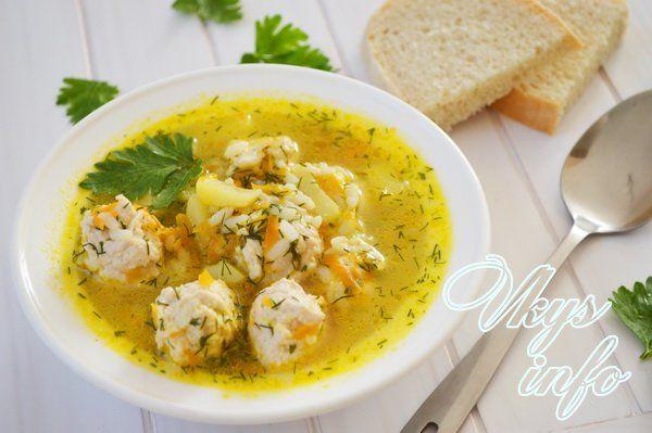 рецепт Суп с куриными фрикадельками и рисом