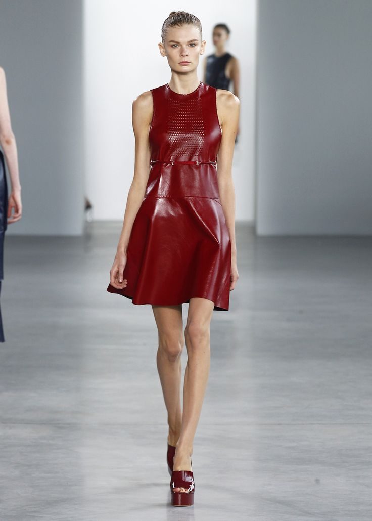 Lacquer red perforated leather dress from the Spring 2015 Calvin Klein Collection.