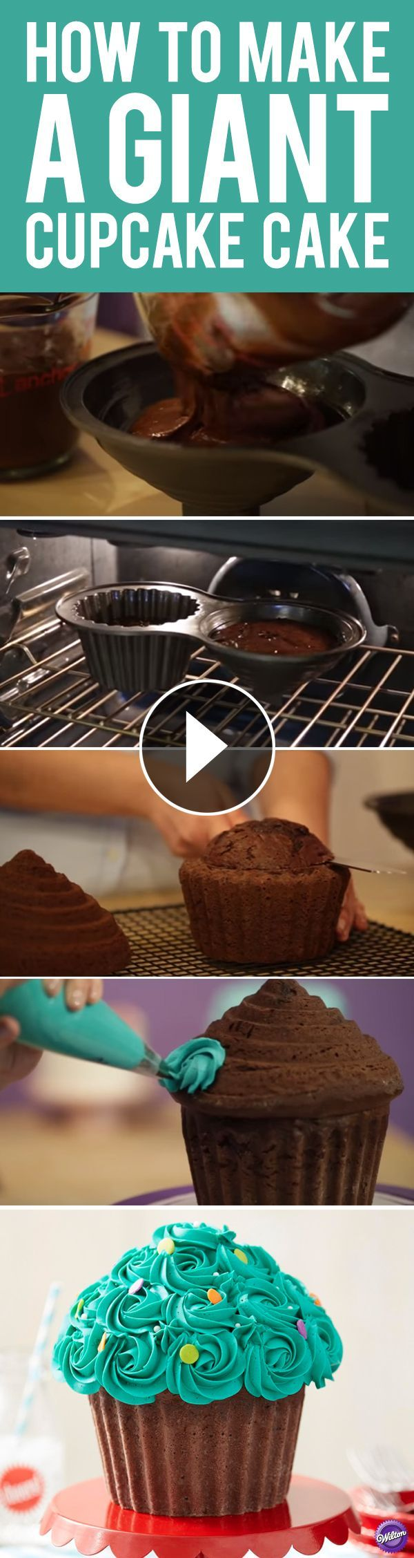 How to Make a Giant Cupcake Cake - Learn the tips and tricks of baking and decorating a giant cupcake cake using the Wilton Dimensions Giant Cupcake Pan!