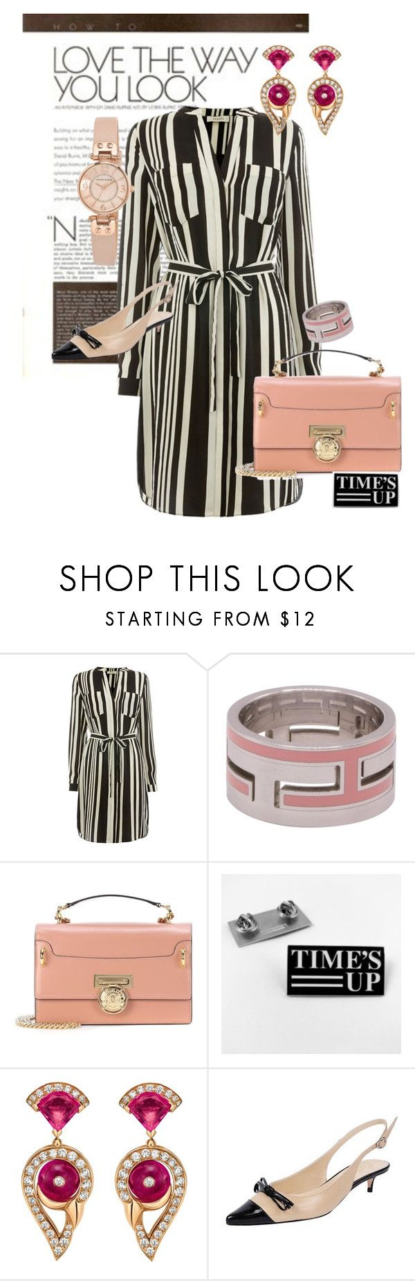 """Shirtdress with Pale Pink Accents"" by donna-capodelupo ❤ liked on Polyvore featuring Hermès, Balmain, Bulgari, Butter Shoes, Anne Klein, shirtdress, lovethewayyoulook and polyvorefashion"