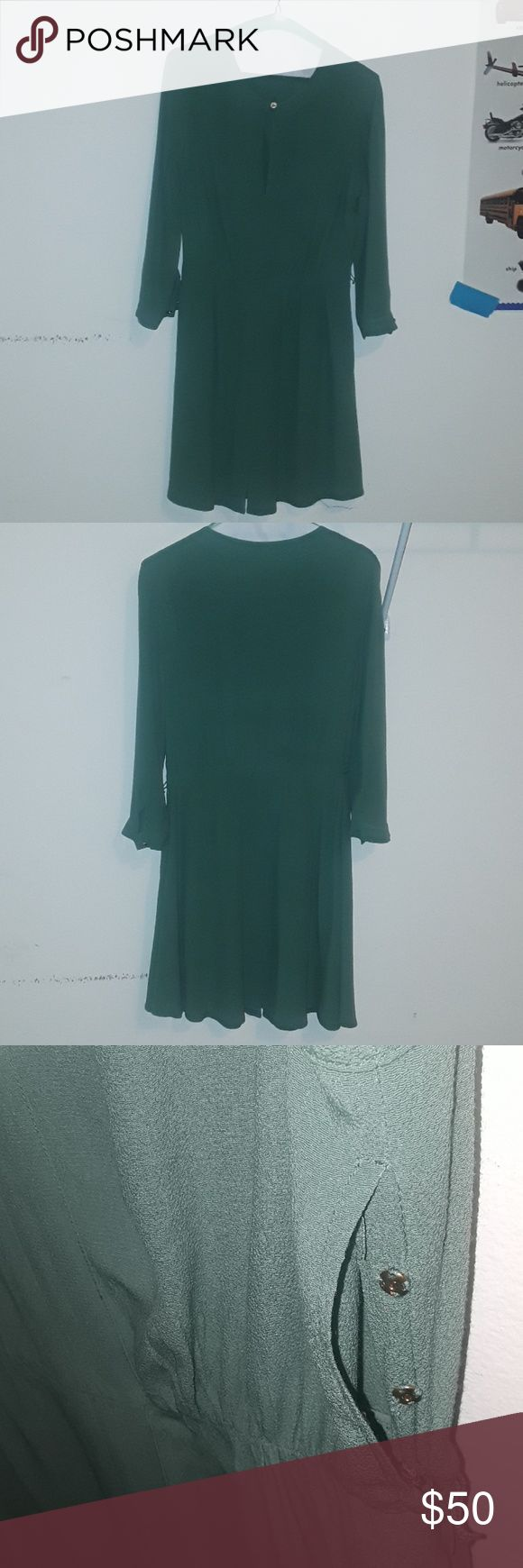 EUC Juicy Couture dress This dress us too small for me. The belt is missing.In excellent used condition. No rips, tears, or stains.This dress is so pretty in person. The camera did not capture the unique shade of green of this dress. I already dry cleaned the dress. This dress can be worn to work, holiday event, or for a night out. And boots and heels would be the perfect footwear accessory. Price is Firm. juicy couture Dresses Midi