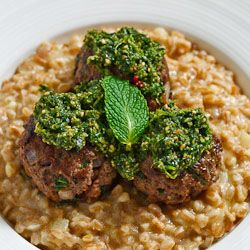 Lamb and Mint Meatballs with Farro Risotto and Cilantro Pesto | foodie ...