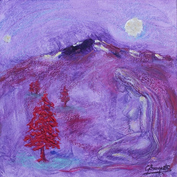 Montaña Violeta I, técnica mixta s/tela 30 x 30 cms. @copyright Carolina Busquets. Exposiión En Tonos de Violeta del colectivo MuArt.