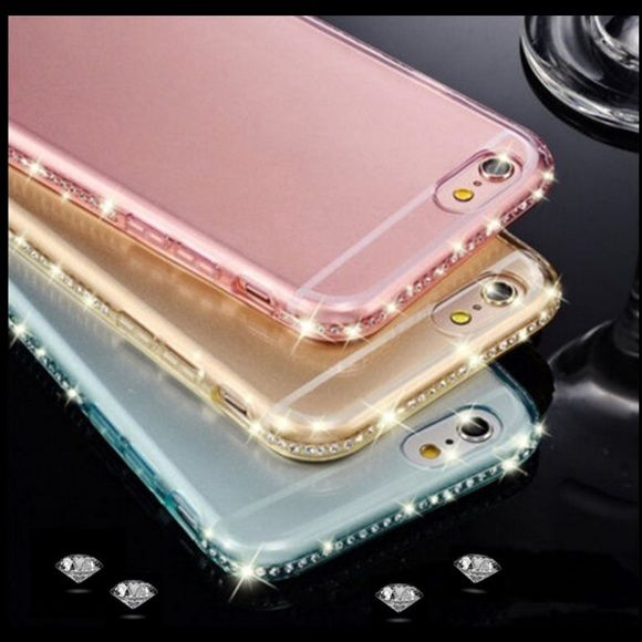 ❗️LAST ONE❗️Rhinestones iPhone case iPhone pink New classic transparent rhinestone diamond soft bling case cover for iPhone 6 or 6s color pink.  Please use or for a button for any offers. Accessories Phone Cases