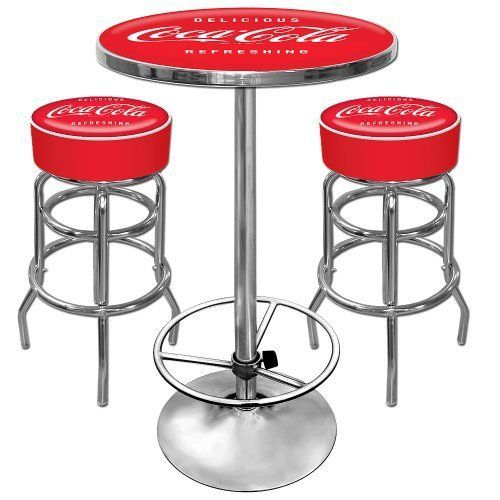 """Coca-Cola Ultimate Game Room Set Two 40"""" Bar Stools with Back and 42"""" Pub Table"""