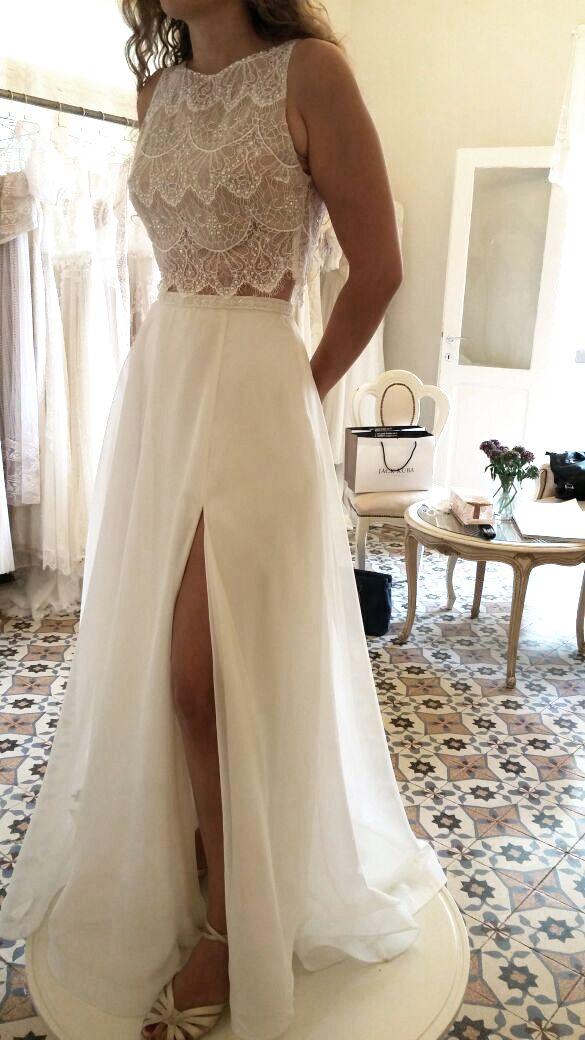 Two pieces wedding gown by FLORA Identity Collection | Boho Chic | Lace top | full skirt