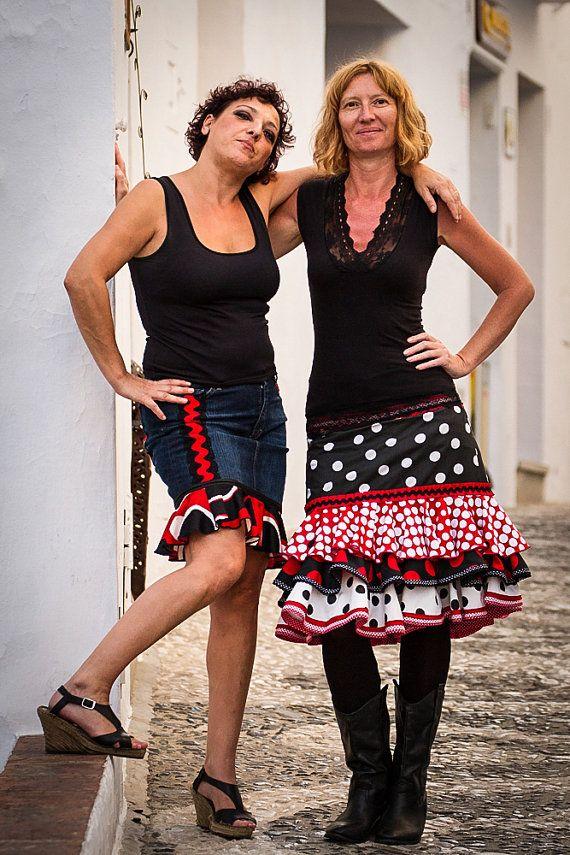 Urban Flamenco Medium Length Skirt  Handmade by MadeinFrigiliana