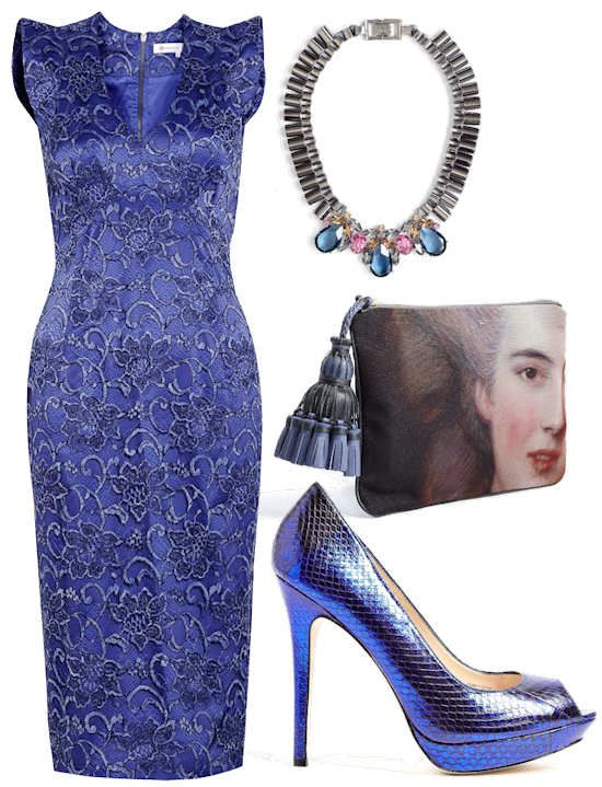 Project D Blue Snow White Lace Dress, Mawi Teardrop Chain Necklace, Anya Hindmarch Courtney Clutch, Lucy Choi London Blue Metallic Snakeskin Platforms