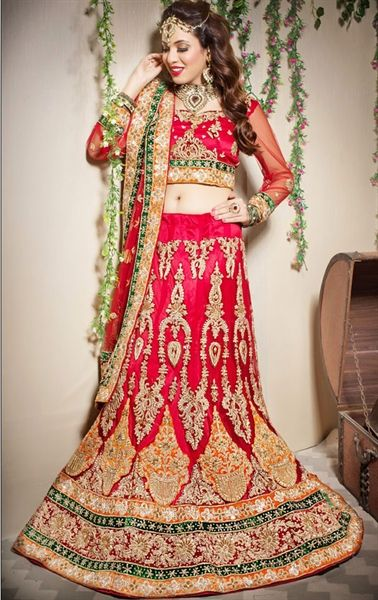 Picture of Butta Red Color Bridal Lehenga Choli