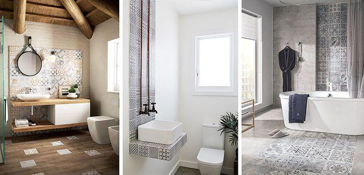 Azulejos hidráulicos que marcan la diferencia en el baño - http://www.decoora.com/azulejos-hidraulicos-que-marcan-la-diferencia-en-el-bano/