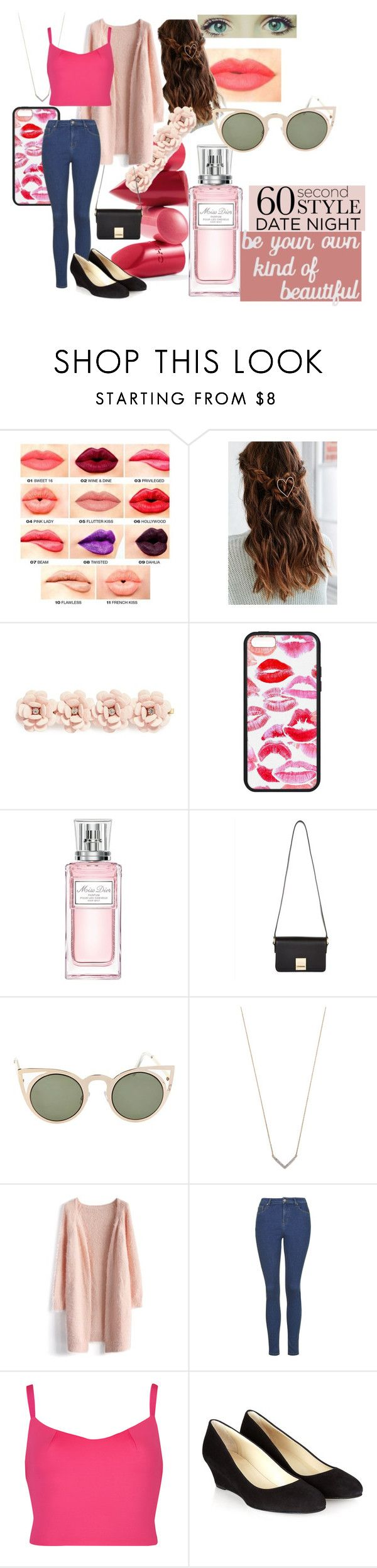 """60 Second Style: Date Night"" by jprosemac ❤ liked on Polyvore featuring NYX, Rossetto, J.Crew, Christian Dior, Jaeger, Betsey Johnson, Adina Reyter, Chicwish, Ted Baker and Hobbs"