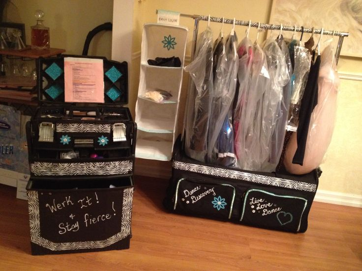 dance costume rack and rolling make up case with cooler in it too  solid sturdy and cheap under 70.00 for all.  Even comes with a mirror that hangs on the rack and stool