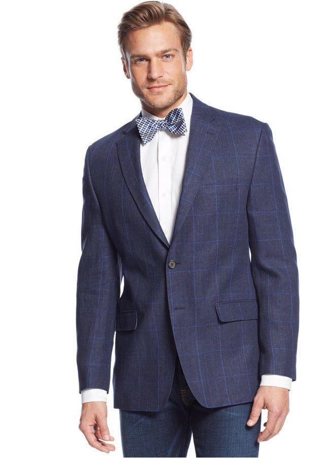 $295, Navy Windowpane Linen Sport Coat by Lauren Ralph Lauren. Sold by Macy's. Click for more info: http://lookastic.com/men/shop_items/155791/redirect