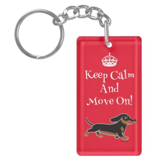 Keep Calm Black and Tan Dachshund Running Rectangular Acrylic Key Chains for doxie lovers!  #Doxie #Dachshund #gift