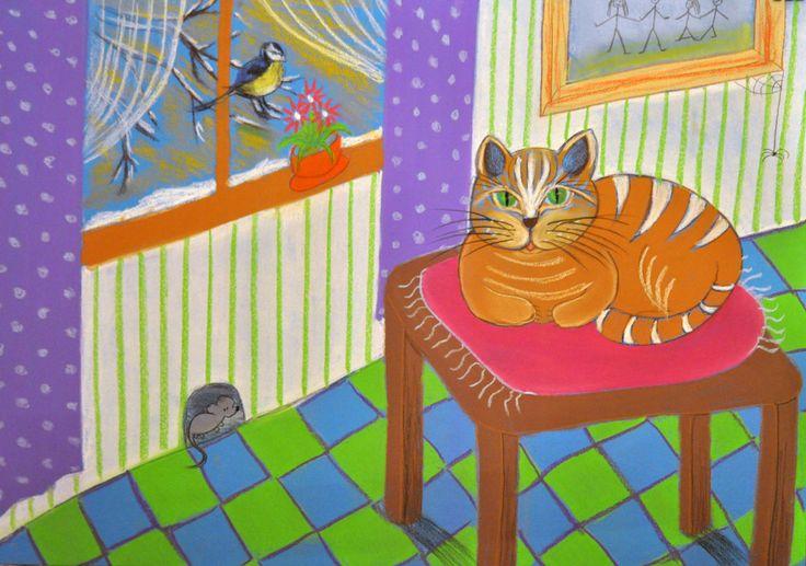 Kot,myszka,sikorka.Technika-pastel suchy.