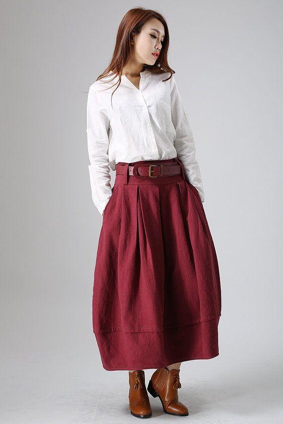 Falda roja falda de lino maxi falda faldas de mujer por xiaolizi