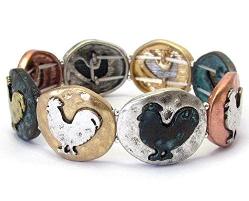 Chicken Stretch Charm Bracelet D3 Rooster Silver Gold Cop... www.amazon.com/...