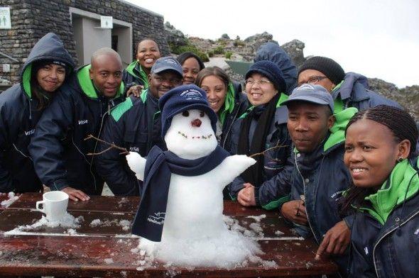 2013 - Table Mountain Staff build a snowman! :)