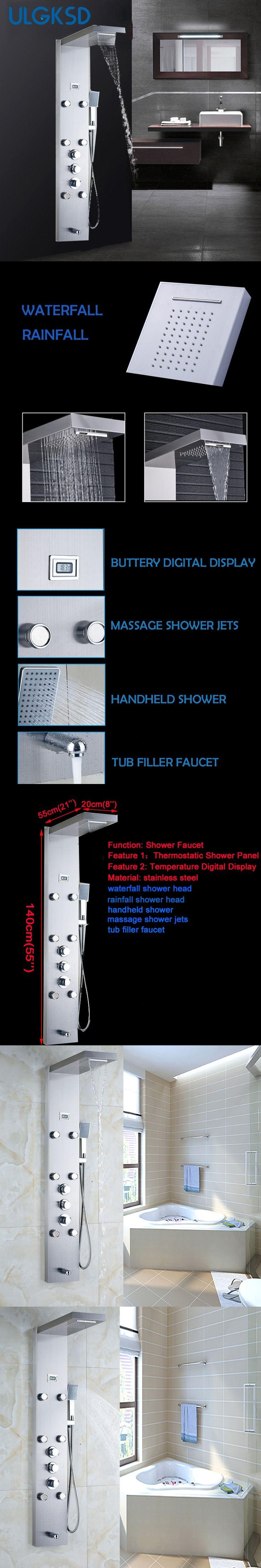 Ulgksd Bath Thermostatic Shower Panel Column Waterfall Rain Shower Faucet Massage Jets Tub Hand Shower System