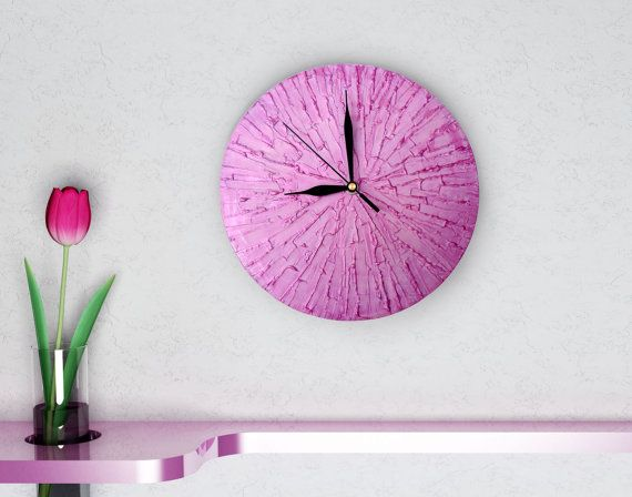 PINK WALL CLOCK unique clock modern wall clock pink by PilipArt