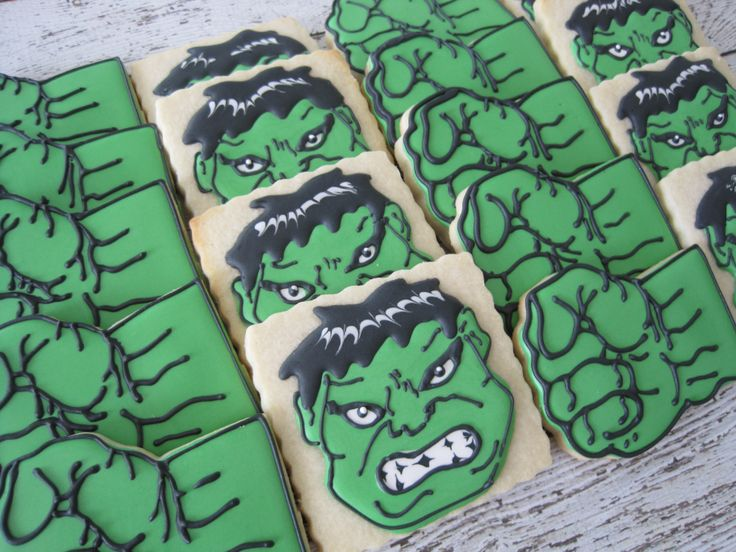 Hulk smash fist and Incredible Hulk cookiws