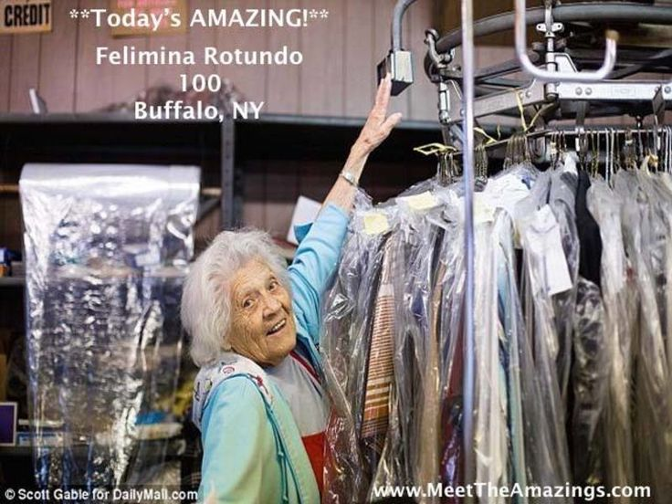 Felimina Rotundo, 100, loves her work as the manager of the laundromat and dry cleaning business.