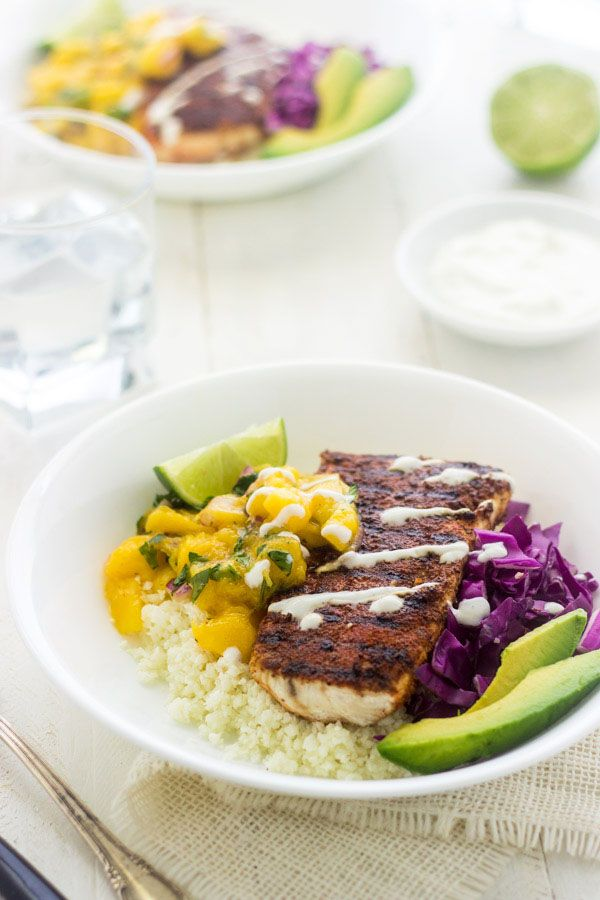 Cauliflower Rice Fish Taco Bowls ~ A quick and easy, weeknight dinner - gone healthy! The classic flavors of fish tacos over gluten free cauliflower rice! | #glutenfree #recipe #taco