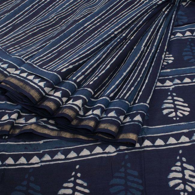 Ode to Earth Indigo Blue Bagru Printed Chanderi Cotton Saree 10007878 - AVISHYA.COM