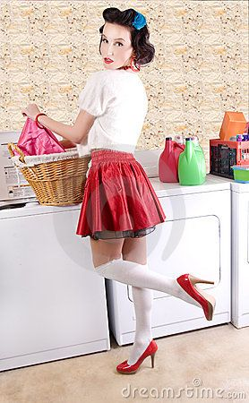 Pinup beauty in the laundry by Ospictures, via Dreamstime